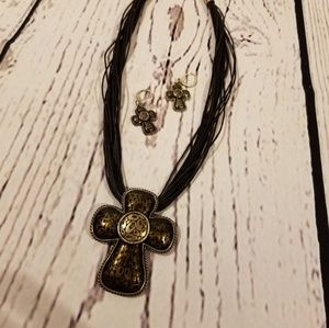 Chicos Cross Necklace and Earring Set